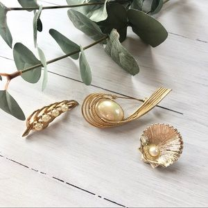 Jewelry - Trio of Golden Pearl Fashion Dress Pins Brooches